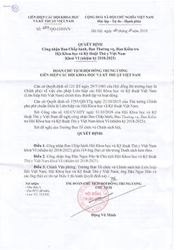 Quyết định công nhận Ban chấp hành, Ban thường vụ, Ban kiểm tra Hội Thú y Việt Nam khóa VI